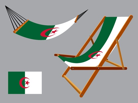 vacances: Algeria hammock and deck chair set against gray background, abstract art illustration Illustration
