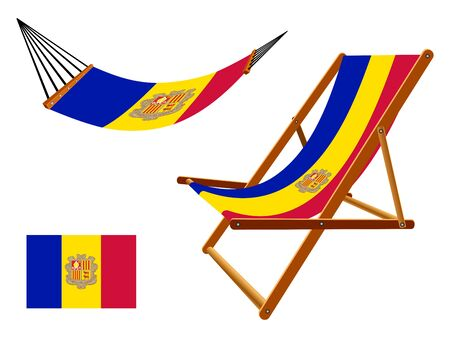 vacances: Andorra hammock and deck chair set against white background, abstract art illustration