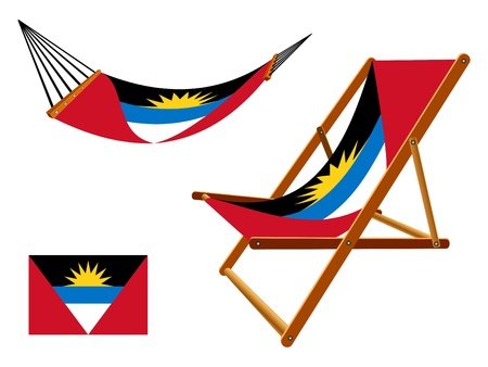 vacances: Antigua and Barbuda hammock and deck chair set against white background, abstract art illustration