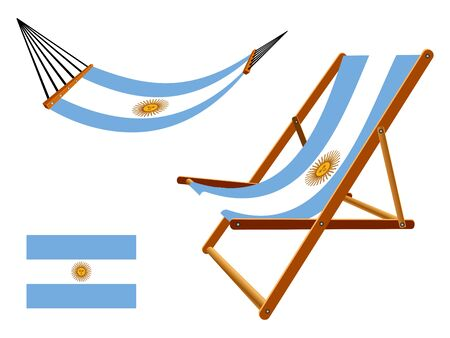 vacances: Argentina hammock and deck chair set against white background, abstract art illustration Illustration