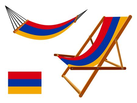 vacances: Armenia hammock and deck chair set against white background, abstract art illustration Illustration