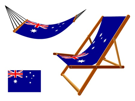 vacances: Australia hammock and deck chair set against white background, abstract art illustration