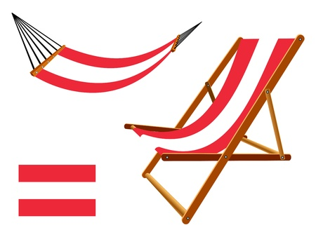 vacances: Austria hammock and deck chair set against white background, abstract art illustration