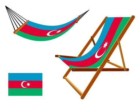 vacances: Azerbaijan hammock and deck chair set against white background, abstract art illustration