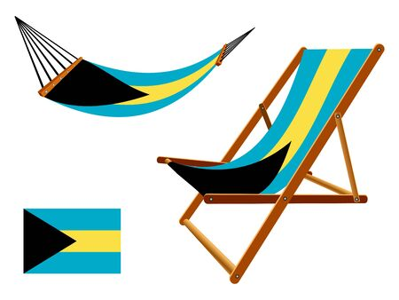 vacances: Bahamas hammock and deck chair set against white background, abstract art illustration Illustration