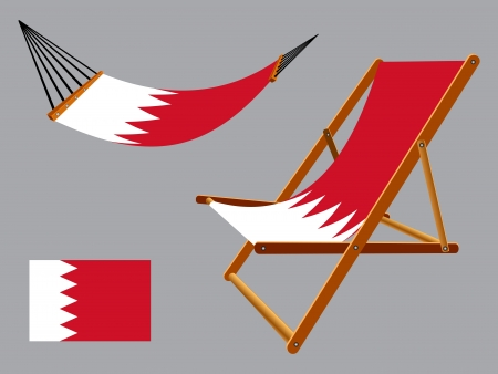 vacances: Bahrain hammock and deck chair set against gray background, abstract art illustration Illustration