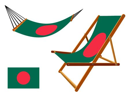 vacances: Bangladesh hammock and deck chair set against white background, abstract art illustration