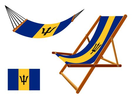 vacances: Barbados hammock and deck chair set against white background, abstract art illustration