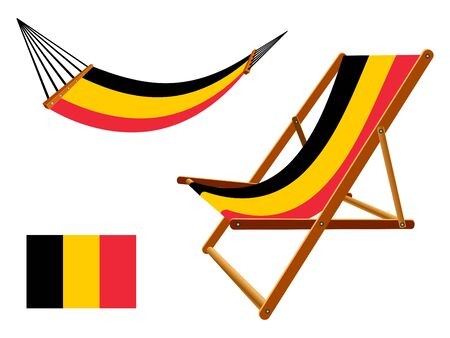 vacances: Belgium hammock and deck chair set against white background, abstract art illustration