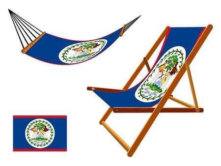 vacances: Belize hammock and deck chair set against white background, abstract art illustration Illustration