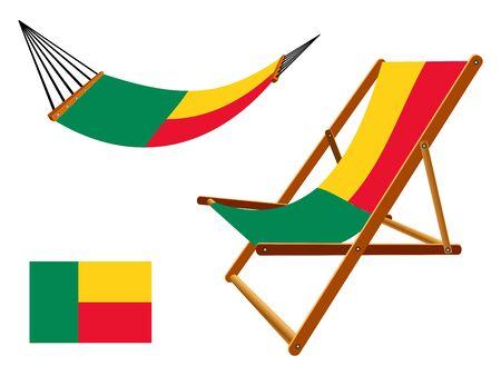 transat: B�nin hamac et chaise longue un fond blanc, illustration d'art abstrait Illustration