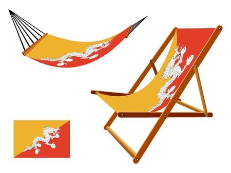 transat: Hamac Bhoutan et chaise longue un fond blanc, illustration d'art abstrait