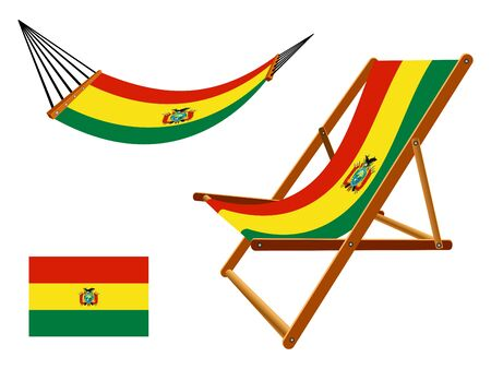 Bolivia hammock and deck chair set against white background, abstract art illustration