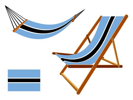 Botswana hammock and deck chair set against white background, abstract art illustration Vector
