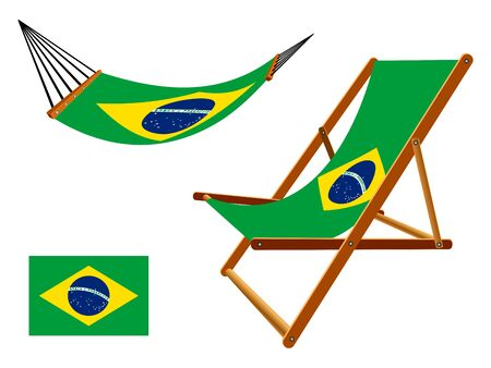 hammock and deck chair set against white background, abstract art illustration