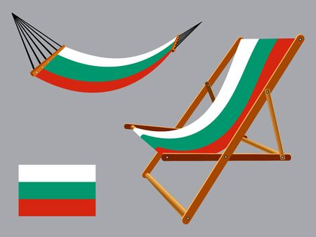 Bulgaria hammock and deck chair set against gray background, abstract art illustration