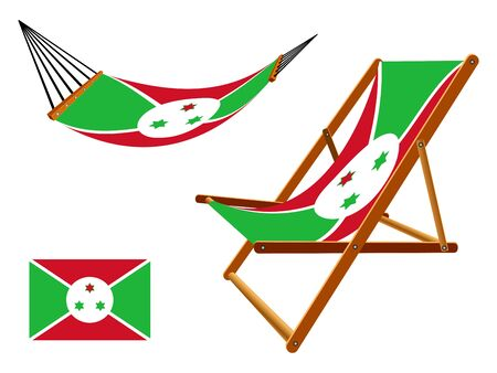 Burundi hammock and deck chair set against white background, abstract art illustration Vector