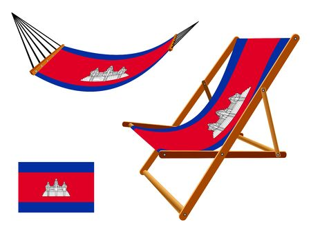 Cambodia hammock and deck chair set against white background, abstract art illustration Çizim
