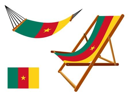 transat: Cameroun hamac et chaise longue un fond blanc, illustration d'art abstrait