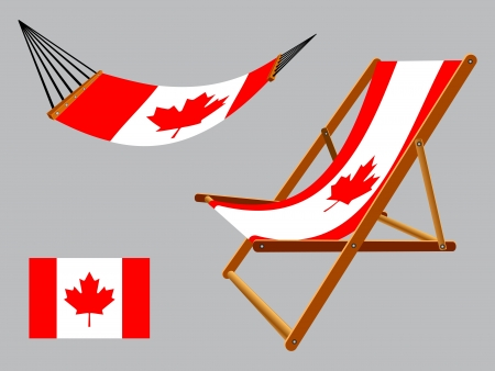 Canada hammock and deck chair set against gray background, abstract art illustration Vector