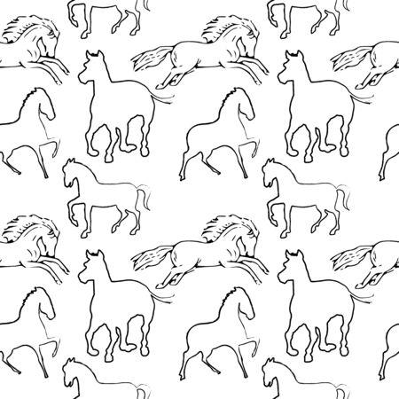 horse pattern, abstract seamless texture, art illustration Vector