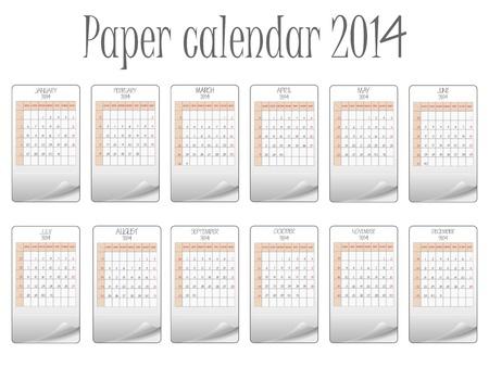paper calendar 2014 against white background, abstract art illustration Vector