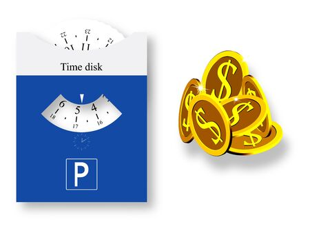 parking disk: parking disk and golden coins against white background, abstract art illustration, image contains transparency