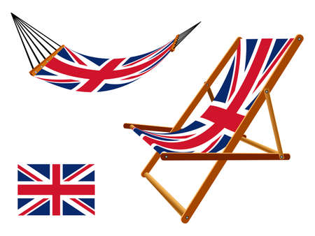 uk hammock and deck chair set against white background, abstract art illustration Vector