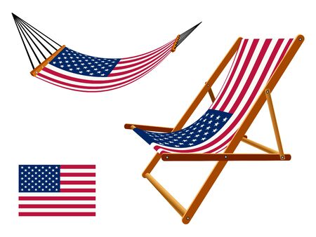 us hammock and deck chair set against white background, abstract art illustration