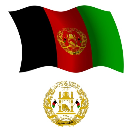 afghanistan wavy flag and coat of arms against white background, vector art illustration, image contains transparency Vector
