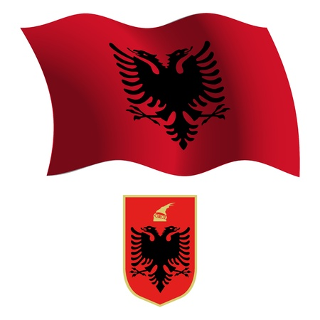 albanian: albania wavy flag and coat of arms against white background, vector art illustration, image contains transparency