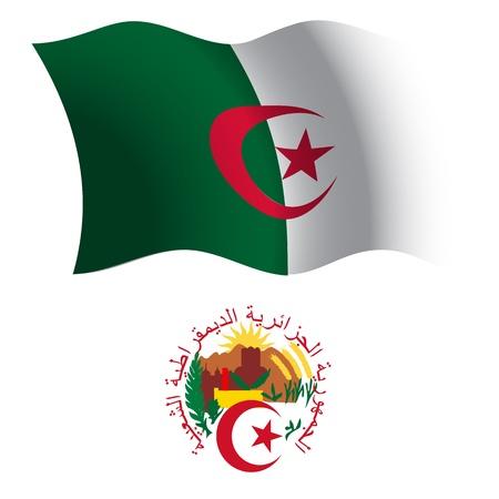 Algerien wellig Flagge und Wappen auf weißem Hintergrund, Vektor Kunst Illustration, Bild Transparenz enthält Standard-Bild - 21366028