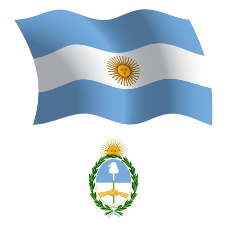 white coat: argentina wavy flag and coat of arms against white background, vector art illustration, image contains transparency