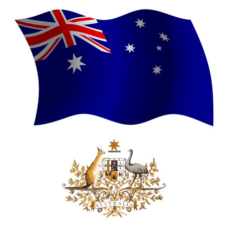 australia wavy flag and coat of arms against white background, vector art illustration, image contains transparency