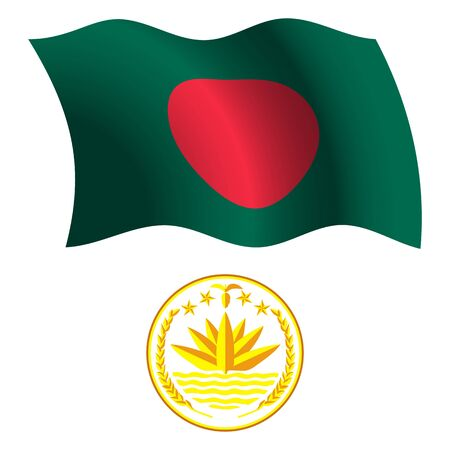 bangladesh 3d: bangladesh wavy flag and coat of arms against white background, vector art illustration, image contains transparency Illustration