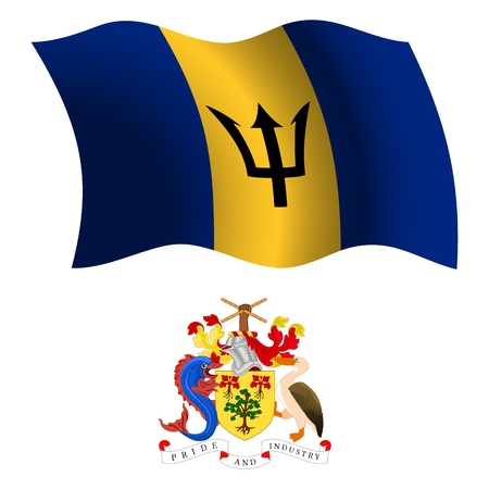 barbados wavy flag and coat of arms against white background, vector art illustration, image contains transparency Illustration