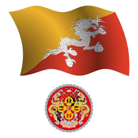 bhutan: bhutan wavy flag and coat of arms against white background, vector art illustration, image contains transparency