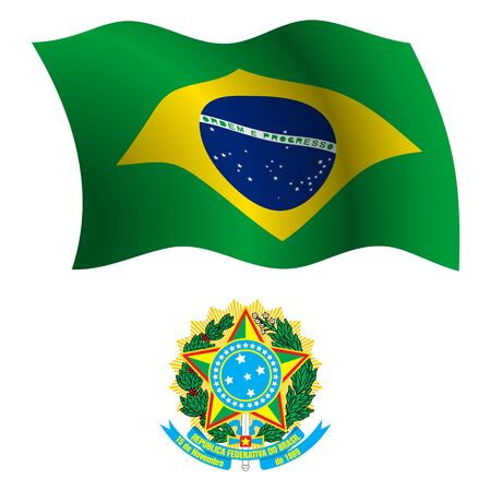 brasil wavy flag and coat of arms against white background, vector art illustration, image contains transparency Illustration