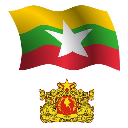 burma wavy flag and coat of arms against white background, vector art illustration, image contains transparency