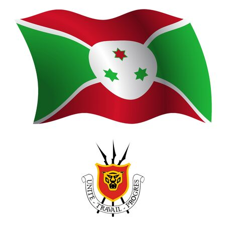 burundi wavy flag and coat of arms against white background, vector art illustration, image contains transparency