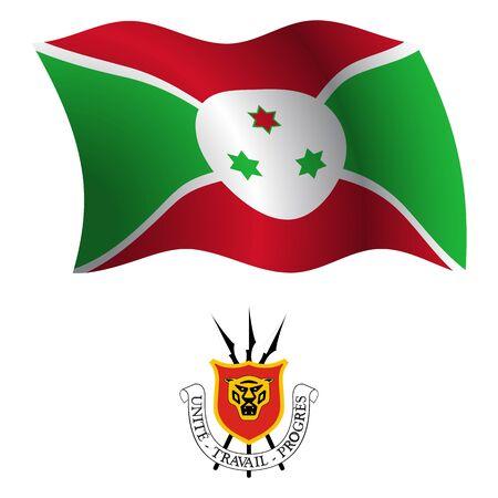 Burundi wellig Flagge und Wappen auf wei?em Hintergrund, Vektor-Illustration enth?lt, Bild Transparenz Standard-Bild - 21366059