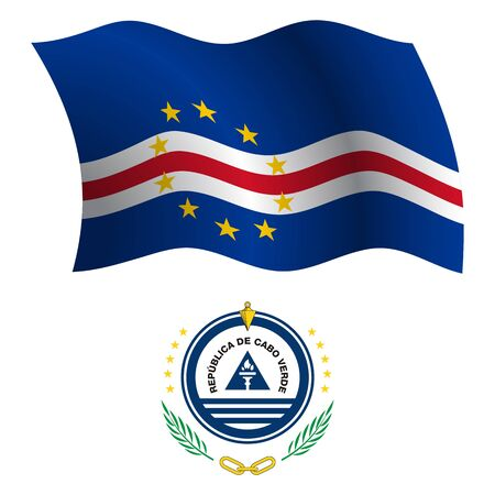 verde: cape verde wavy flag and coat of arms against white background, vector art illustration, image contains transparency Illustration