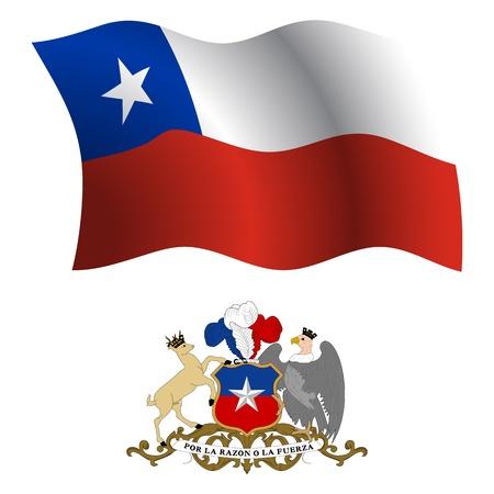 chili golvende vlag en wapen tegen een witte achtergrond, vector illustratie, afbeelding art transparantie bevat