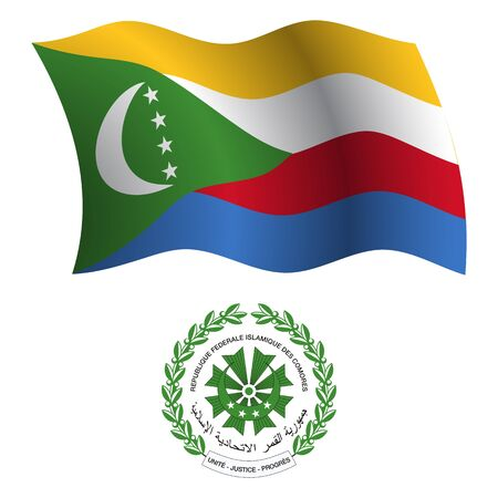 comoros: comoros wavy flag and coat of arms against white background, vector art illustration, image contains transparency