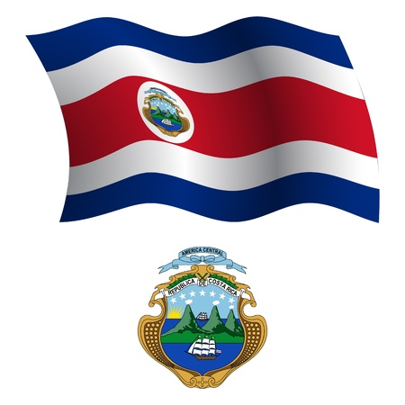 costa rica wavy flag and coat of arms against white background, vector art illustration, image contains transparency 向量圖像