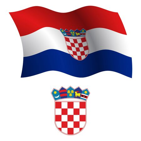 croatia wavy flag and coat of arms against white background, vector art illustration, image contains transparency Illustration