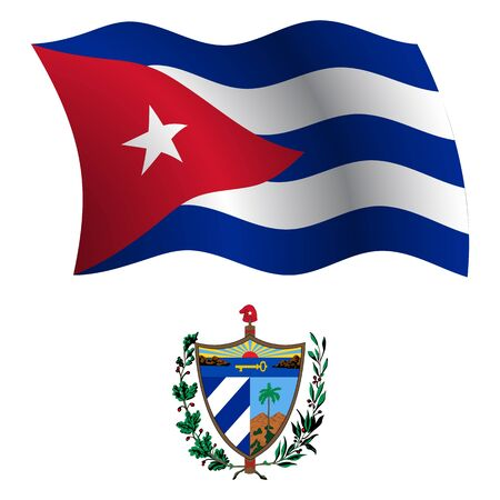 cuba wavy flag and coat of arms against white background, vector art illustration, image contains transparency Vector