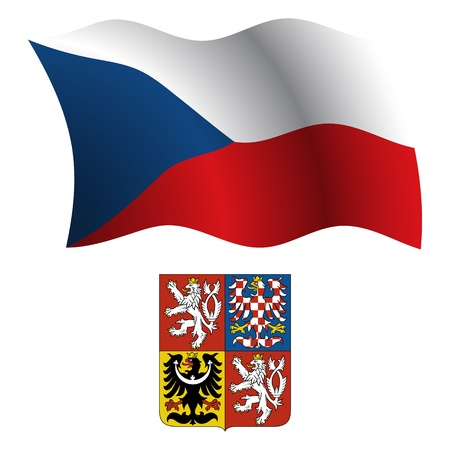 czech republic wavy flag and coat of arms against white background, vector art illustration, image contains transparency 版權商用圖片 - 21366088