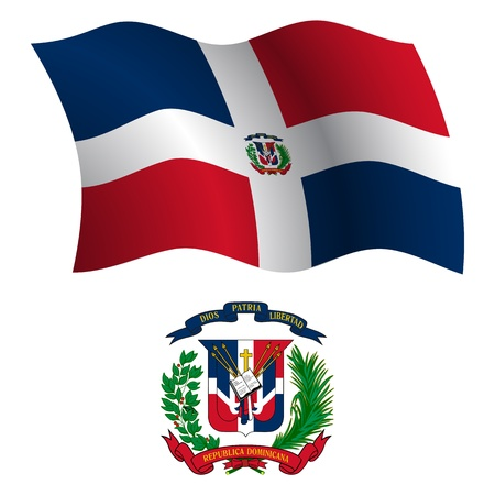 dominican republic wavy flag and coat of arms against white background, vector art illustration, image contains transparency