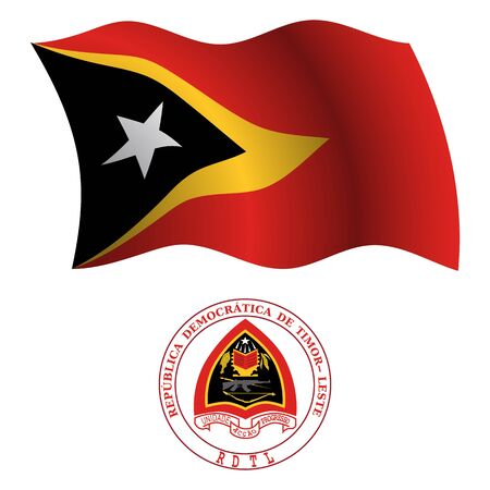 east timor wavy flag and coat of arms against white background, vector art illustration, image contains transparency